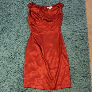 Stunning Red Satin Fitted Formal Dress